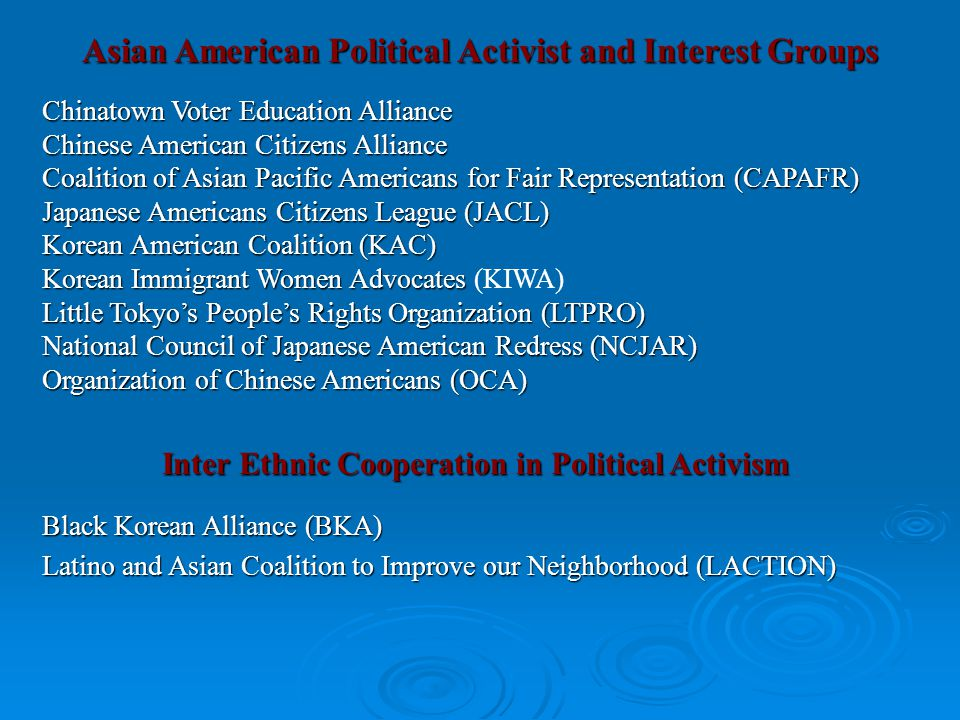 Asian American Political Activist and Interest Groups Chinatown Voter Education Alliance Chinese American Citizens Alliance Coalition of Asian Pacific Americans for Fair Representation (CAPAFR) Japanese Americans Citizens League (JACL) Korean American Coalition (KAC) Korean Immigrant Women Advocates Korean Immigrant Women Advocates (KIWA) Little Tokyo's People's Rights Organization (LTPRO) National Council of Japanese American Redress (NCJAR) Organization of Chinese Americans (OCA) Inter Ethnic Cooperation in Political Activism Black Korean Alliance (BKA) Latino and Asian Coalition to Improve our Neighborhood (LACTION)