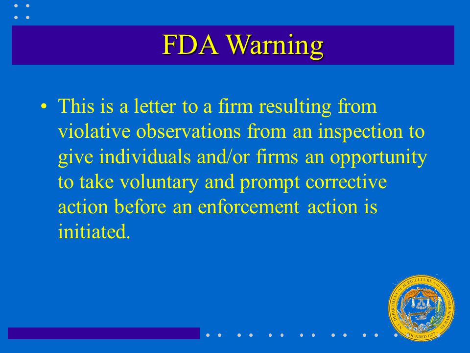 FDA Seizure/Injunction A Seizure is a judicial civil action directed against specific offending goods to prevent their entry into interstate commerce that is accomplished under a court order.