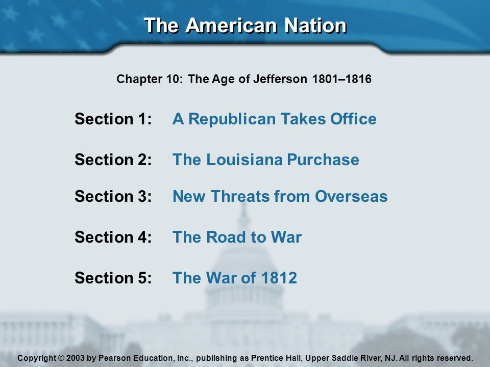 The American Nation Copyright © 2003 by Pearson Education, Inc., publishing as Prentice Hall, Upper Saddle River, NJ.