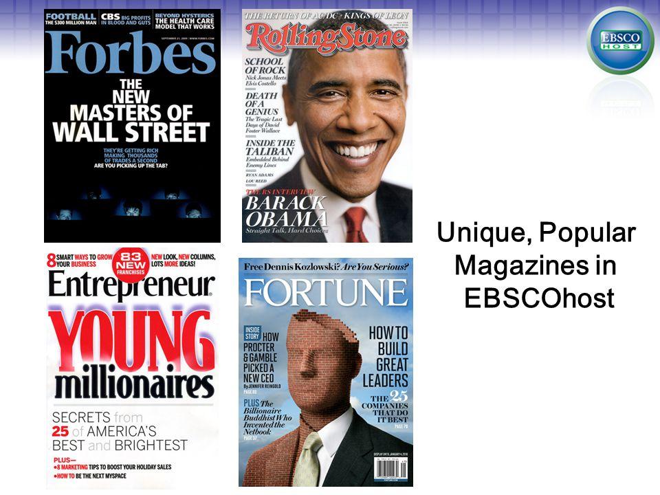 Unique, Popular Magazines in EBSCOhost