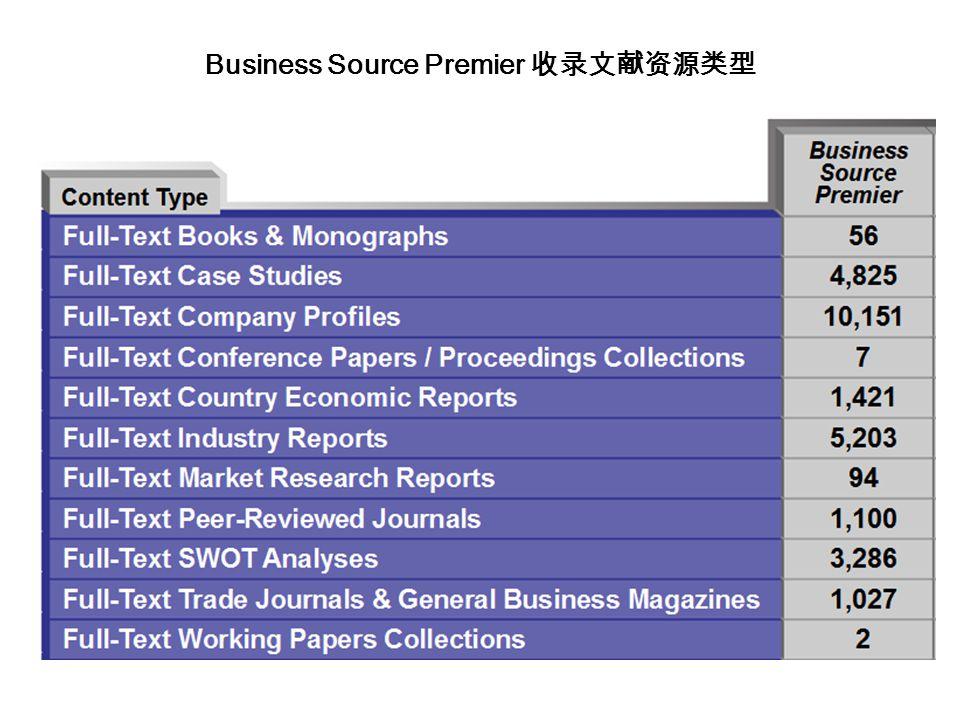Business Source Premier 收录文献资源类型