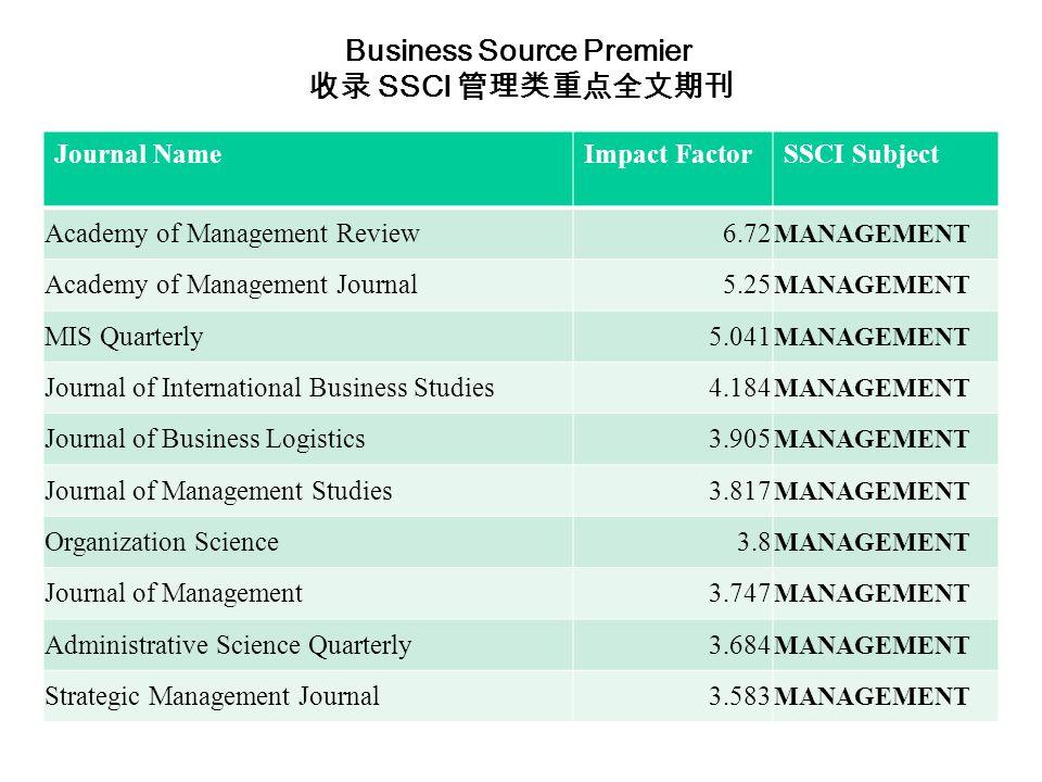 Journal NameImpact FactorSSCI Subject Academy of Management Review6.72 MANAGEMENT Academy of Management Journal5.25 MANAGEMENT MIS Quarterly5.041 MANAGEMENT Journal of International Business Studies4.184 MANAGEMENT Journal of Business Logistics3.905 MANAGEMENT Journal of Management Studies3.817 MANAGEMENT Organization Science3.8 MANAGEMENT Journal of Management3.747 MANAGEMENT Administrative Science Quarterly3.684 MANAGEMENT Strategic Management Journal3.583 MANAGEMENT Business Source Premier 收录 SSCI 管理类重点全文期刊