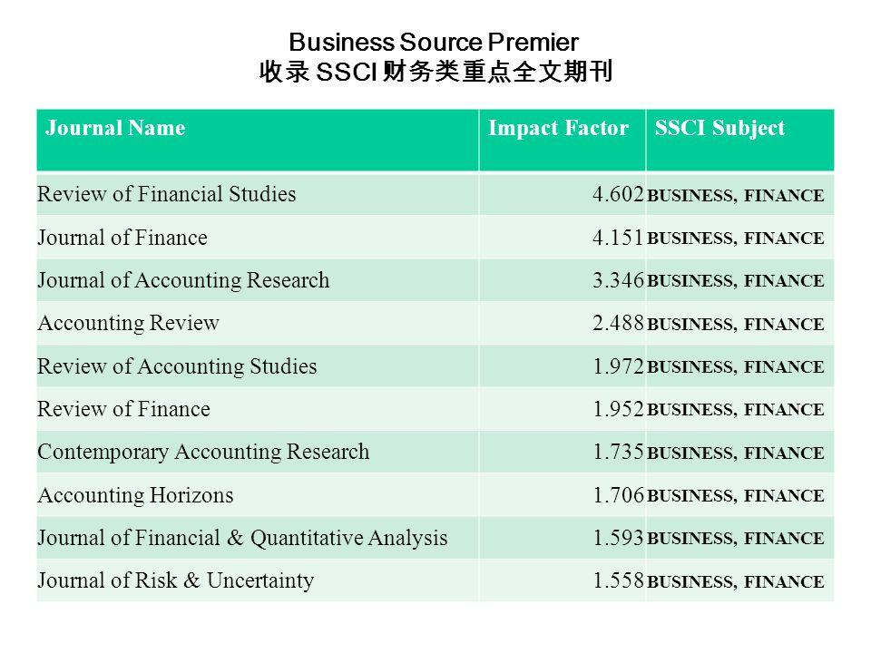 Journal NameImpact FactorSSCI Subject Review of Financial Studies4.602 BUSINESS, FINANCE Journal of Finance4.151 BUSINESS, FINANCE Journal of Accounting Research3.346 BUSINESS, FINANCE Accounting Review2.488 BUSINESS, FINANCE Review of Accounting Studies1.972 BUSINESS, FINANCE Review of Finance1.952 BUSINESS, FINANCE Contemporary Accounting Research1.735 BUSINESS, FINANCE Accounting Horizons1.706 BUSINESS, FINANCE Journal of Financial & Quantitative Analysis1.593 BUSINESS, FINANCE Journal of Risk & Uncertainty1.558 BUSINESS, FINANCE Business Source Premier 收录 SSCI 财务类重点全文期刊