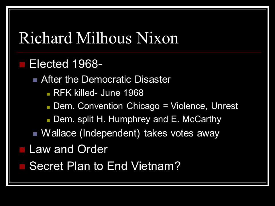 Realpolitik (Nixon Foreign) Kissinger (Sec of State, NSA) idea that foreign policy should be not on moral principles but on maintaining strength To maintain/attain US superiority in world Establish military bases, and political connections throughout the world
