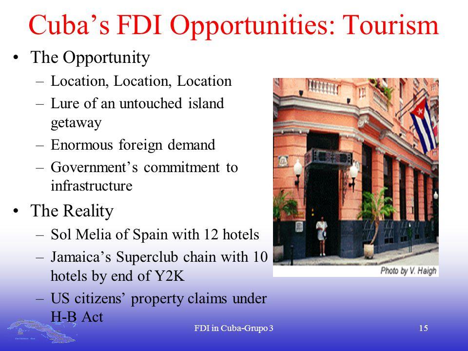 FDI in Cuba-Grupo 315 Cuba's FDI Opportunities: Tourism The Opportunity –Location, Location, Location –Lure of an untouched island getaway –Enormous f
