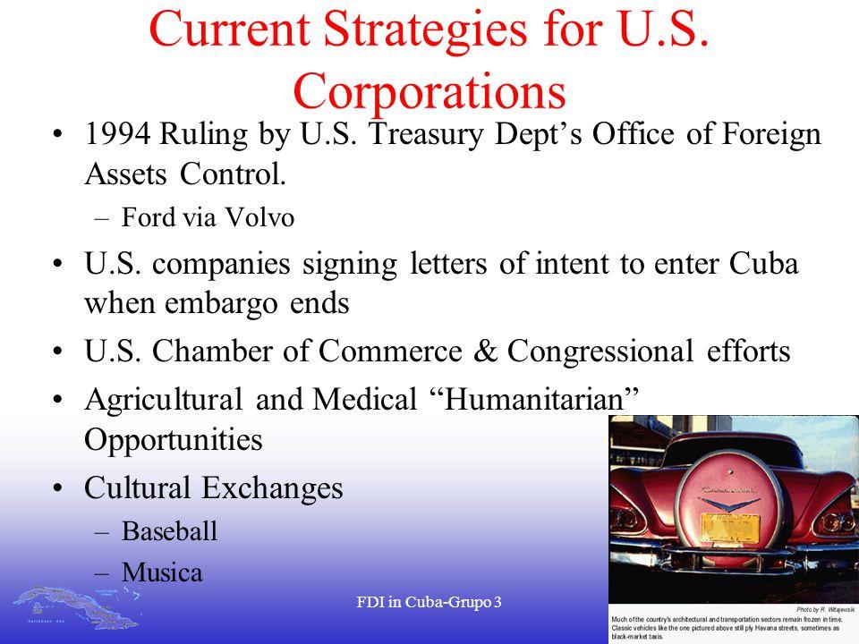 FDI in Cuba-Grupo 318 Current Strategies for U.S. Corporations 1994 Ruling by U.S.