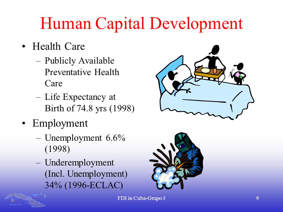 FDI in Cuba-Grupo 39 Human Capital Development Health Care –Publicly Available Preventative Health Care –Life Expectancy at Birth of 74.8 yrs (1998) Employment –Unemployment 6.6% (1998) –Underemployment (Incl.