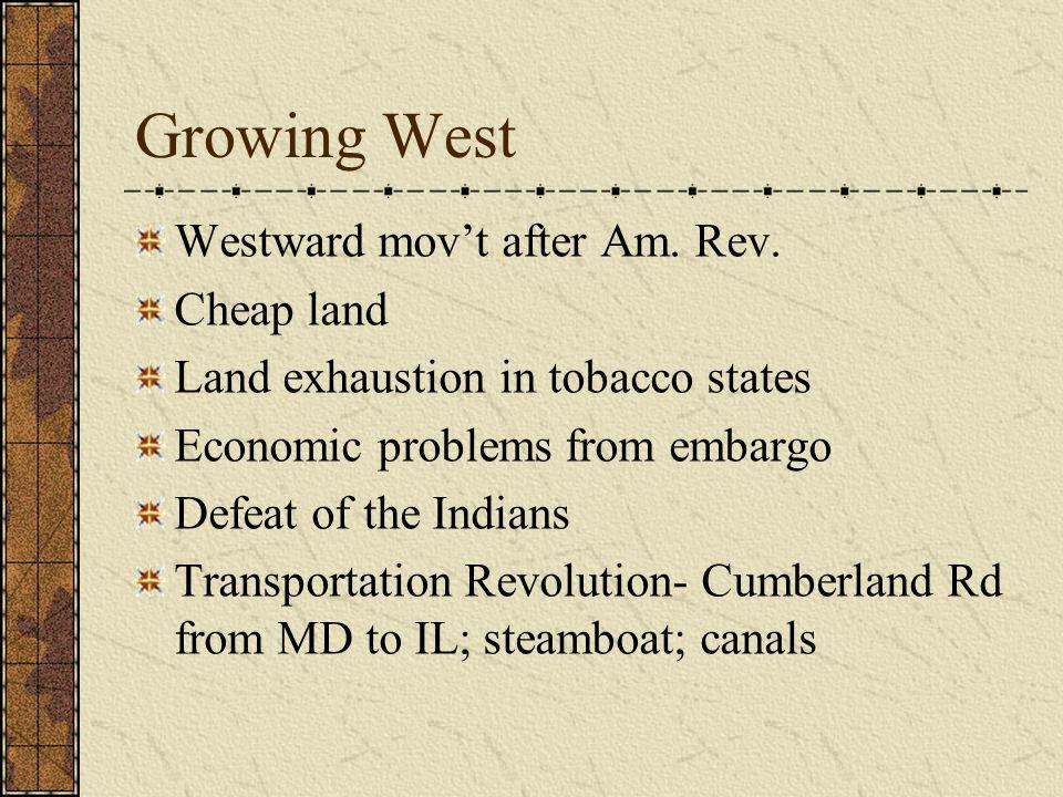 Growing West Westward mov't after Am. Rev.