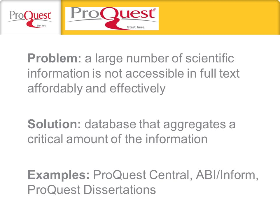 Problem: a large number of scientific information is not accessible in full text affordably and effectively Solution: database that aggregates a criti