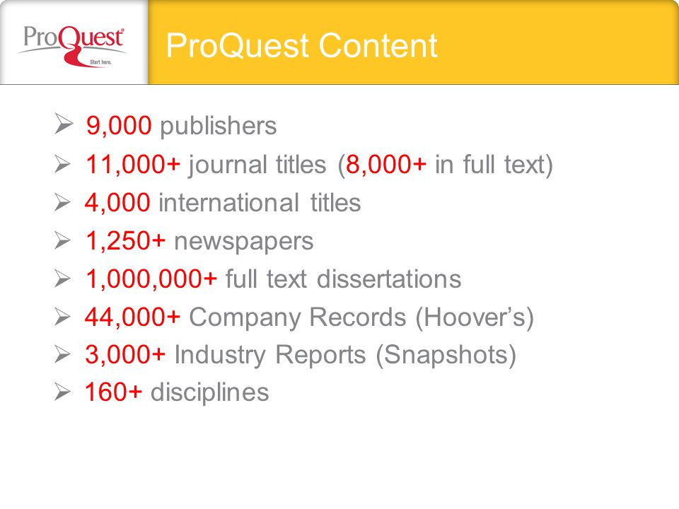 ProQuest Content  9,000 publishers  11,000+ journal titles (8,000+ in full text)  4,000 international titles  1,250+ newspapers  1,000,000+ full text dissertations  44,000+ Company Records (Hoover's)  3,000+ Industry Reports (Snapshots)  160+ disciplines