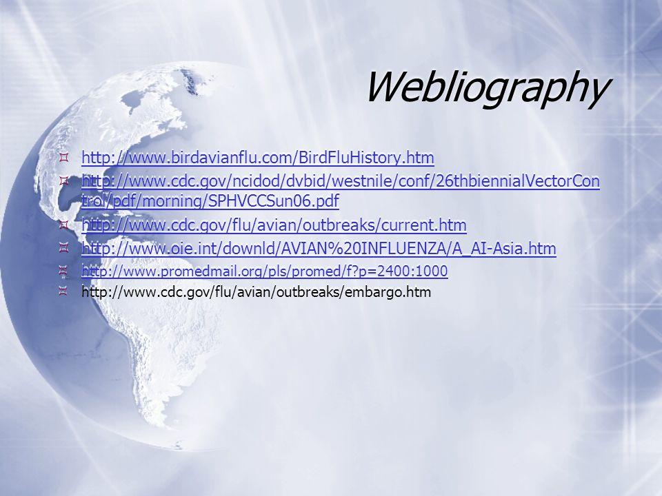 Webliography  http://www.birdavianflu.com/BirdFluHistory.htm http://www.birdavianflu.com/BirdFluHistory.htm  http://www.cdc.gov/ncidod/dvbid/westnile/conf/26thbiennialVectorCon trol/pdf/morning/SPHVCCSun06.pdf http://www.cdc.gov/ncidod/dvbid/westnile/conf/26thbiennialVectorCon trol/pdf/morning/SPHVCCSun06.pdf  http://www.cdc.gov/flu/avian/outbreaks/current.htm http://www.cdc.gov/flu/avian/outbreaks/current.htm  http://www.oie.int/downld/AVIAN%20INFLUENZA/A_AI-Asia.htm http://www.oie.int/downld/AVIAN%20INFLUENZA/A_AI-Asia.htm  http://www.promedmail.org/pls/promed/f p=2400:1000 http://www.promedmail.org/pls/promed/f p=2400:1000  http://www.cdc.gov/flu/avian/outbreaks/embargo.htm  http://www.birdavianflu.com/BirdFluHistory.htm http://www.birdavianflu.com/BirdFluHistory.htm  http://www.cdc.gov/ncidod/dvbid/westnile/conf/26thbiennialVectorCon trol/pdf/morning/SPHVCCSun06.pdf http://www.cdc.gov/ncidod/dvbid/westnile/conf/26thbiennialVectorCon trol/pdf/morning/SPHVCCSun06.pdf  http://www.cdc.gov/flu/avian/outbreaks/current.htm http://www.cdc.gov/flu/avian/outbreaks/current.htm  http://www.oie.int/downld/AVIAN%20INFLUENZA/A_AI-Asia.htm http://www.oie.int/downld/AVIAN%20INFLUENZA/A_AI-Asia.htm  http://www.promedmail.org/pls/promed/f p=2400:1000 http://www.promedmail.org/pls/promed/f p=2400:1000  http://www.cdc.gov/flu/avian/outbreaks/embargo.htm
