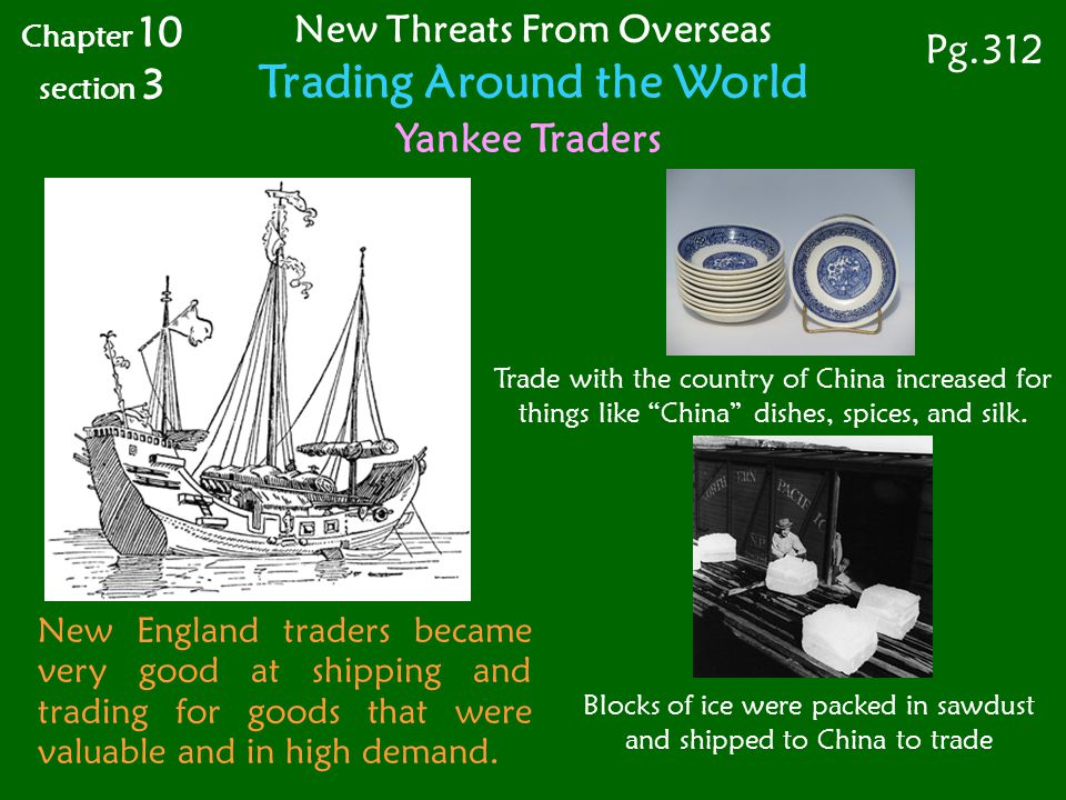 Blocks of ice were packed in sawdust and shipped to China to trade New England traders became very good at shipping and trading for goods that were valuable and in high demand.