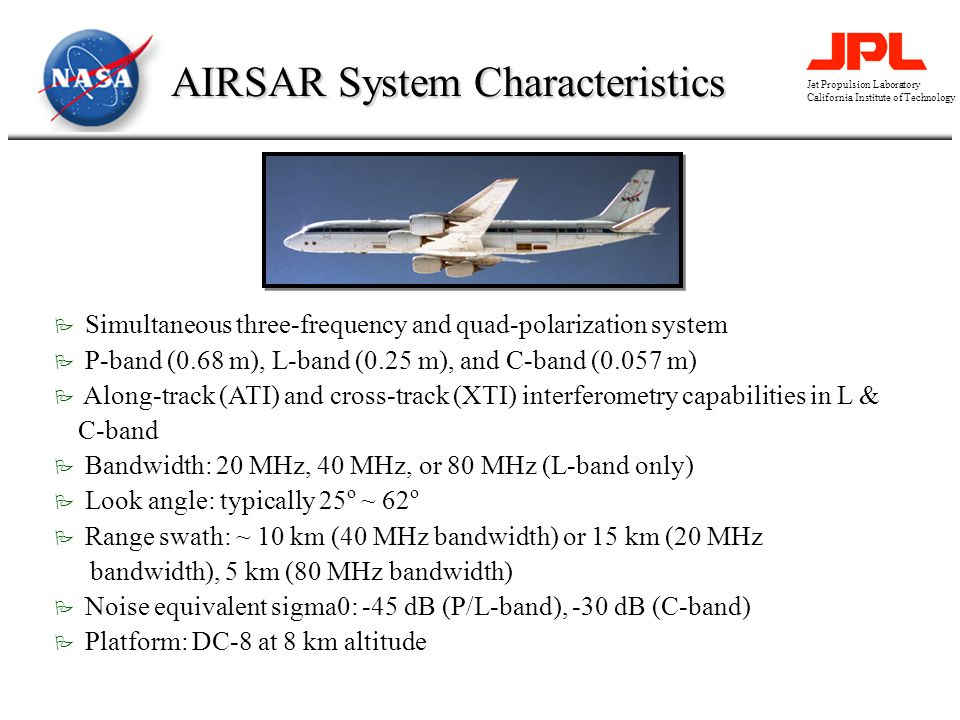 Jet Propulsion Laboratory California Institute of Technology AIRSAR System Characteristics P Simultaneous three-frequency and quad-polarization system