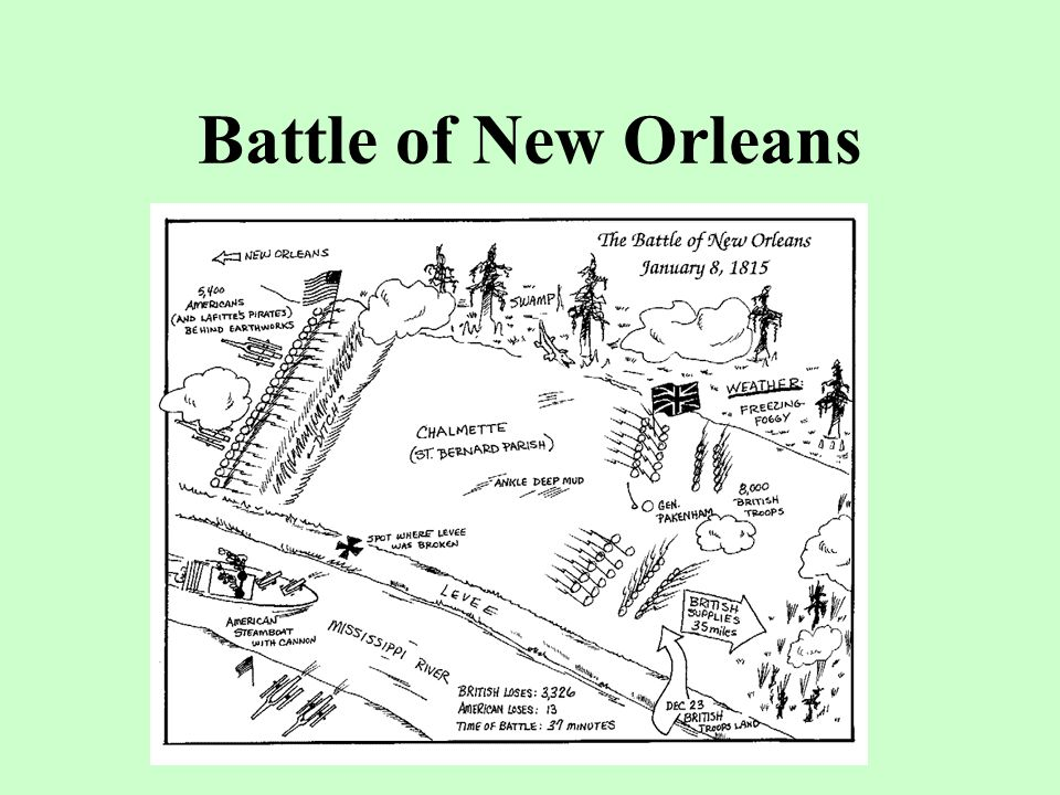 Battle of New Orleans …began when the British marched on the Fort under fog, but were caught on an open field and suffered 2,000 casualties.