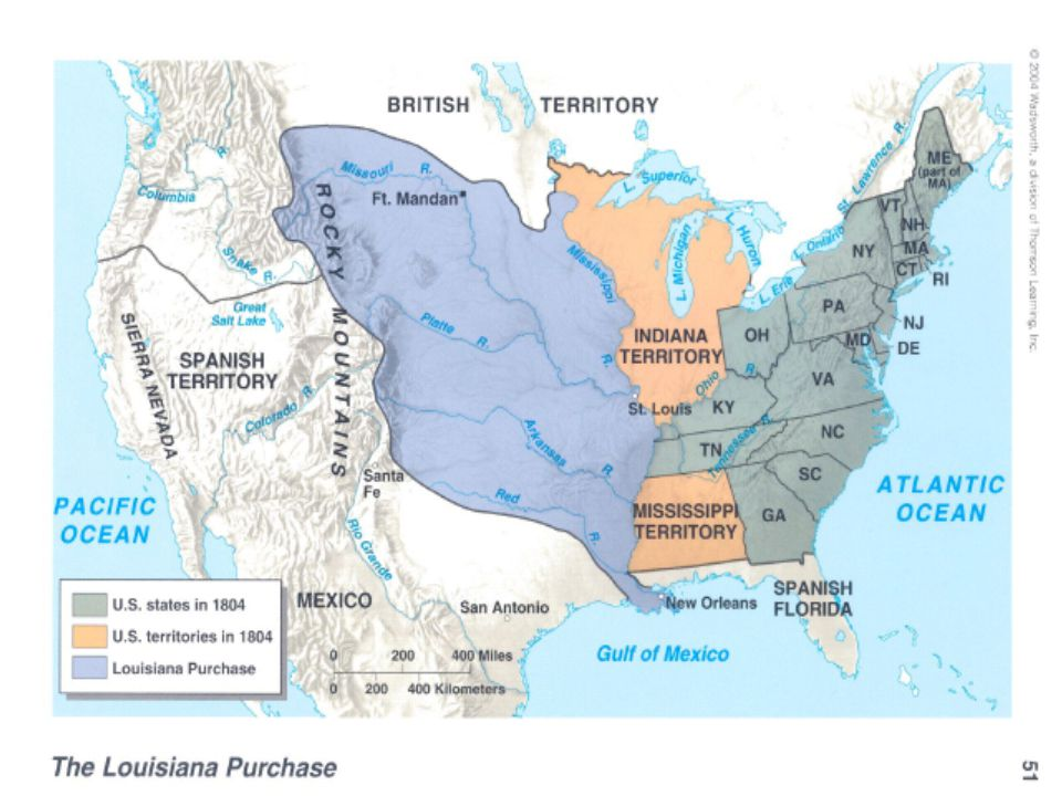 Louisiana Purchase cont' Bought the land from Napoleon $15 million As a strict constructionist, the Constitution did not authorize the President to negotiate treaties incorporating huge new expanses of land into the union.