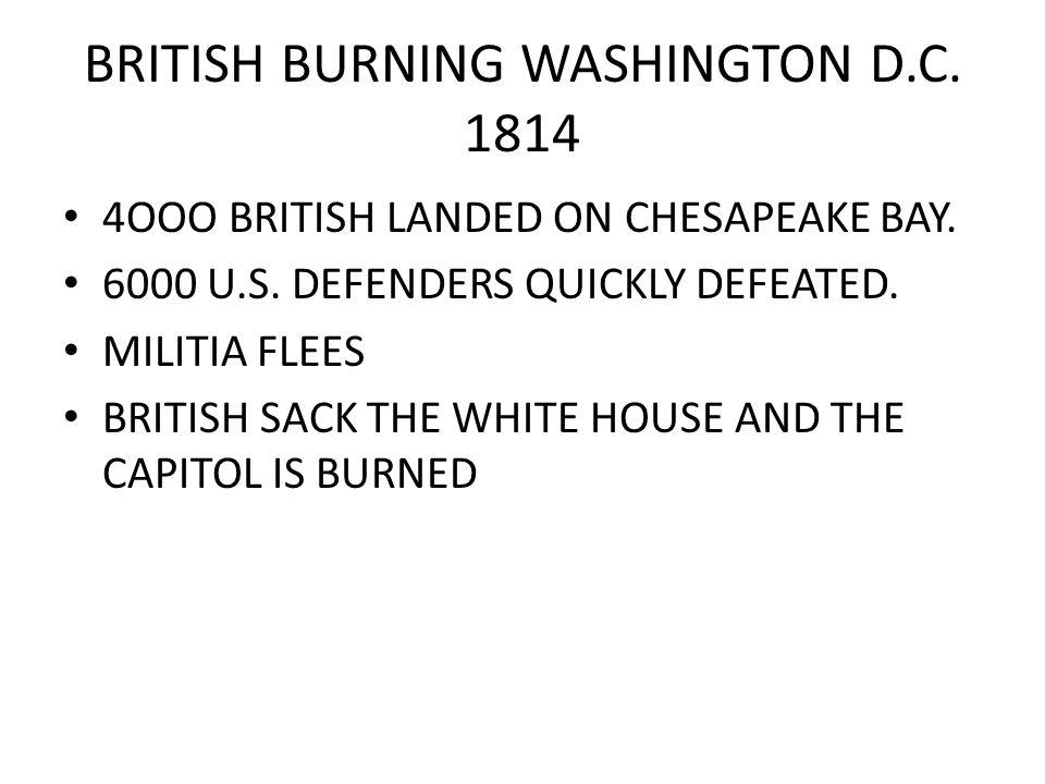 BRITISH LAUNCH NEW ATTACK ON NEW YORK VIA LAKE CHAMPLAIN AMERICAN COMMAND THOMAS MACDONOUGH LAST LINE OF DEFENSE DEFEATS BRITISH FLEET AT PLATTSBURG SEPT 11, 1814 SAVES NEW YORK.