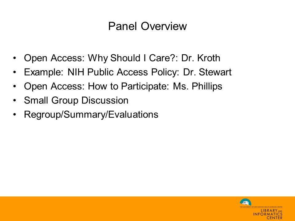 Example: The NIH Public Access Policy (Dr. Stewart)