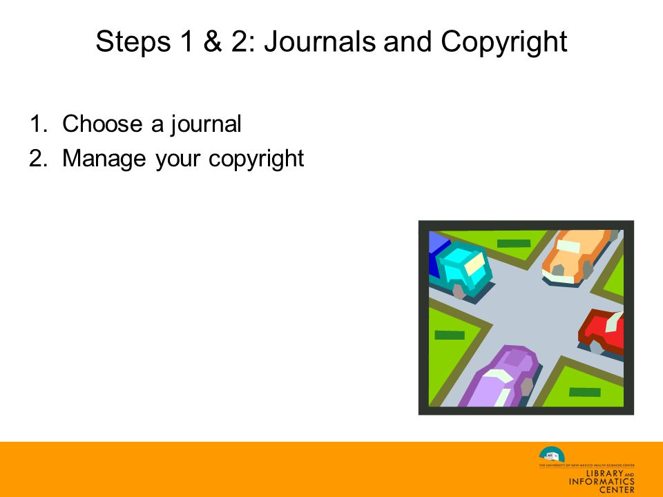 1.Choose a journal 2.Manage your copyright Steps 1 & 2: Journals and Copyright