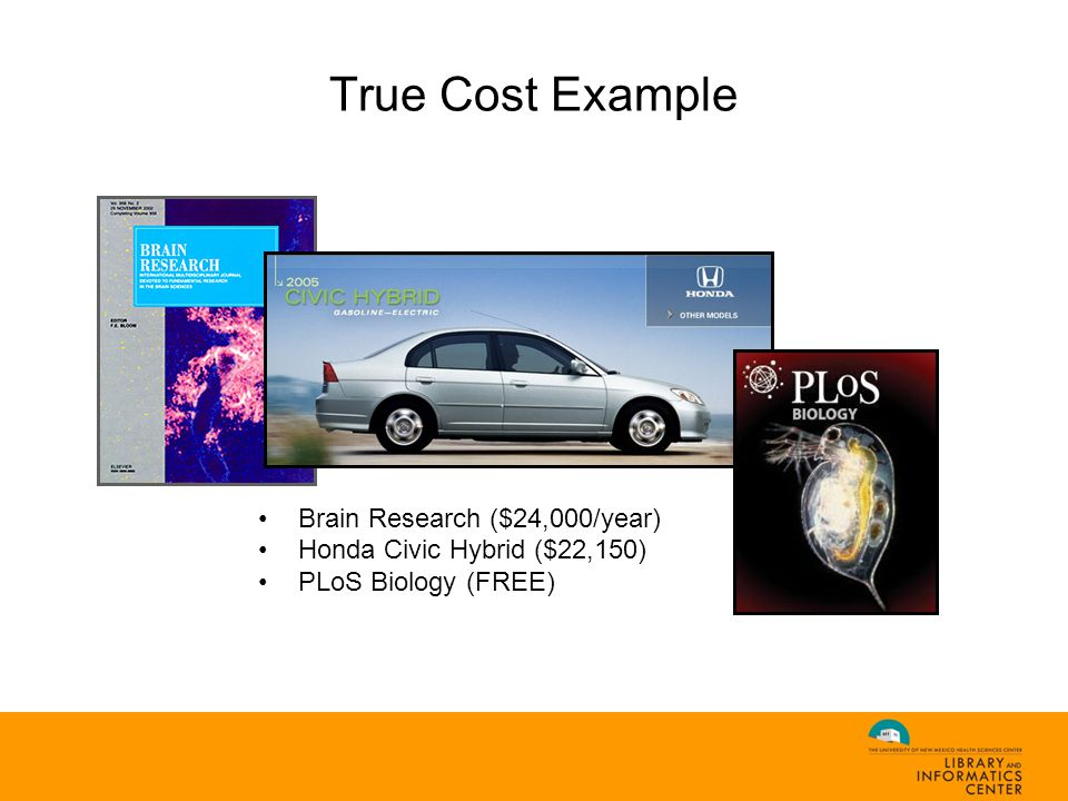 True Cost Example Brain Research ($24,000/year) Honda Civic Hybrid ($22,150) PLoS Biology (FREE)