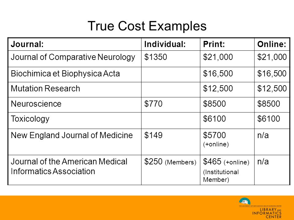 True Cost Examples Journal:Individual:Print:Online: Journal of Comparative Neurology$1350$21,000 Biochimica et Biophysica Acta$16,500 Mutation Research$12,500 Neuroscience$770$8500 Toxicology$6100 New England Journal of Medicine$149$5700 (+online) n/a Journal of the American Medical Informatics Association $250 (Members) $465 (+online) (Institutional Member) n/a