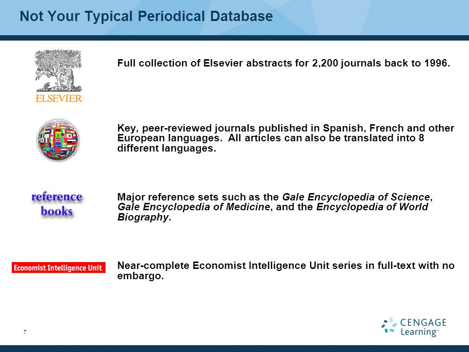 7 Full collection of Elsevier abstracts for 2,200 journals back to 1996.