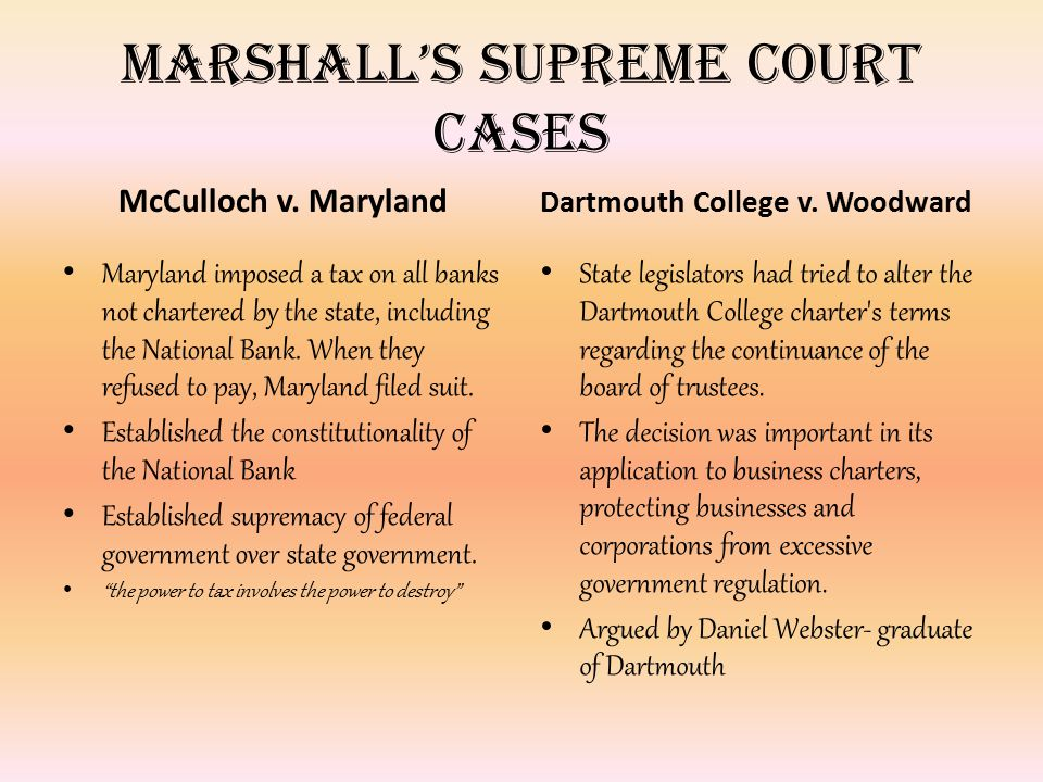 Marshall's Supreme Court Cases McCulloch v. Maryland Maryland imposed a tax on all banks not chartered by the state, including the National Bank. When