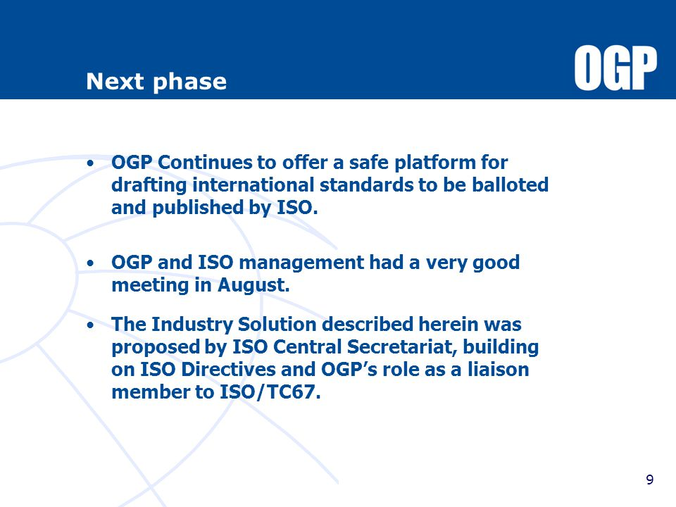 New OGP solution vs ISO route (draft & simplified) 10 Trade regulation «barrier».