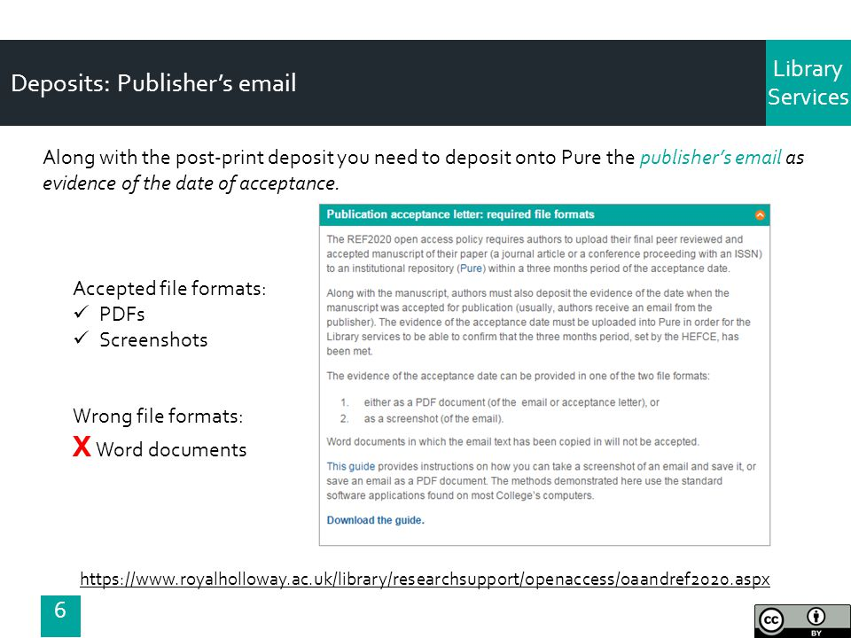 Library Services Deposits: Publisher's email Along with the post-print deposit you need to deposit onto Pure the publisher's email as evidence of the date of acceptance.