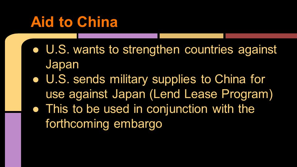 Aid to China ●U.S.wants to strengthen countries against Japan ●U.S.