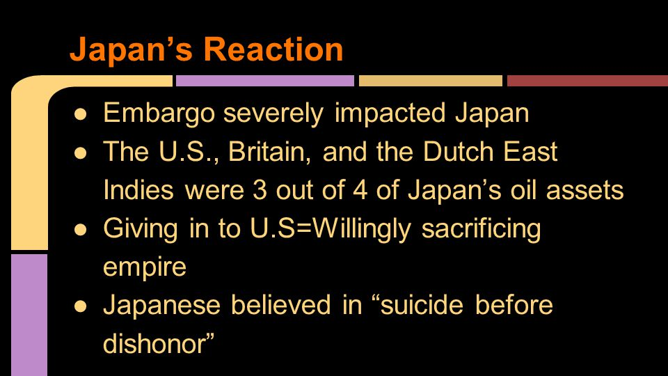 Japan's Reaction ●Embargo severely impacted Japan ●The U.S., Britain, and the Dutch East Indies were 3 out of 4 of Japan's oil assets ●Giving in to U.S=Willingly sacrificing empire ●Japanese believed in suicide before dishonor