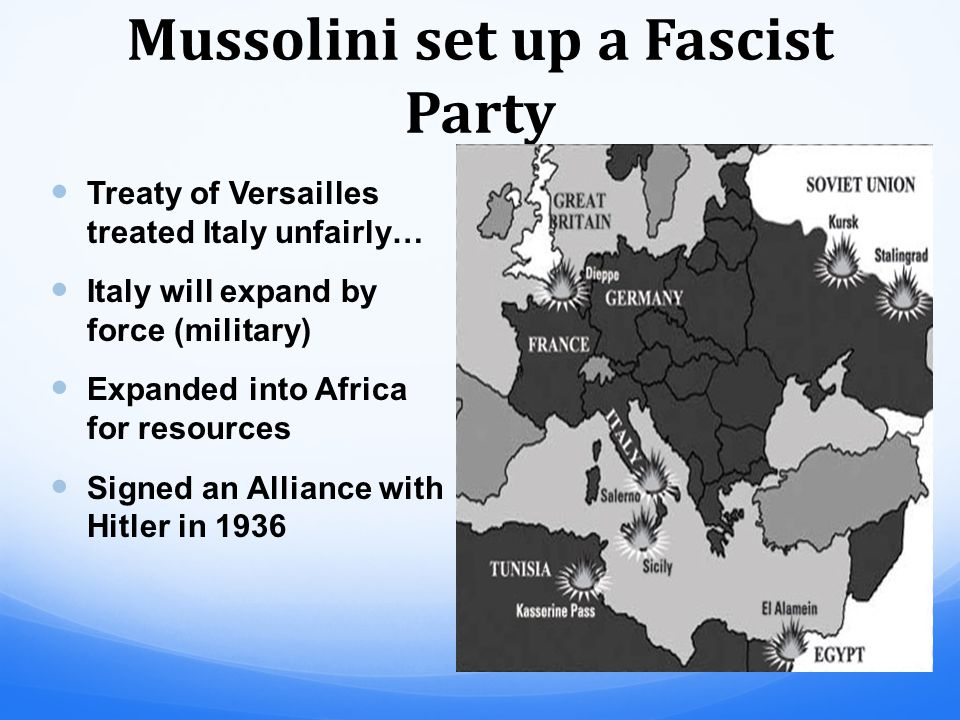 Mussolini set up a Fascist Party and promised to solve Italy's problems rebuild Italy and recreate the Roman Empire Came to power in 1922 and was appointed to prevent a Communist Revolution in Italy