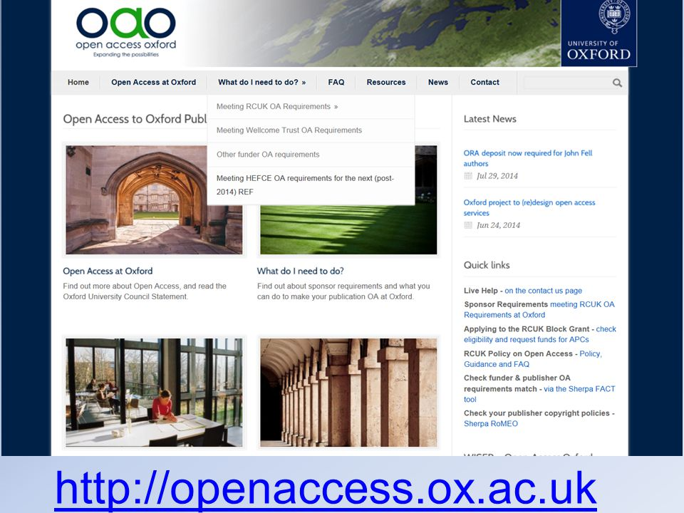 / http://openaccess.ox.ac.uk Website, Email, Live Help