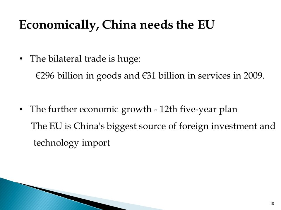 Economically, China needs the EU The bilateral trade is huge: €296 billion in goods and €31 billion in services in 2009. The further economic growth -