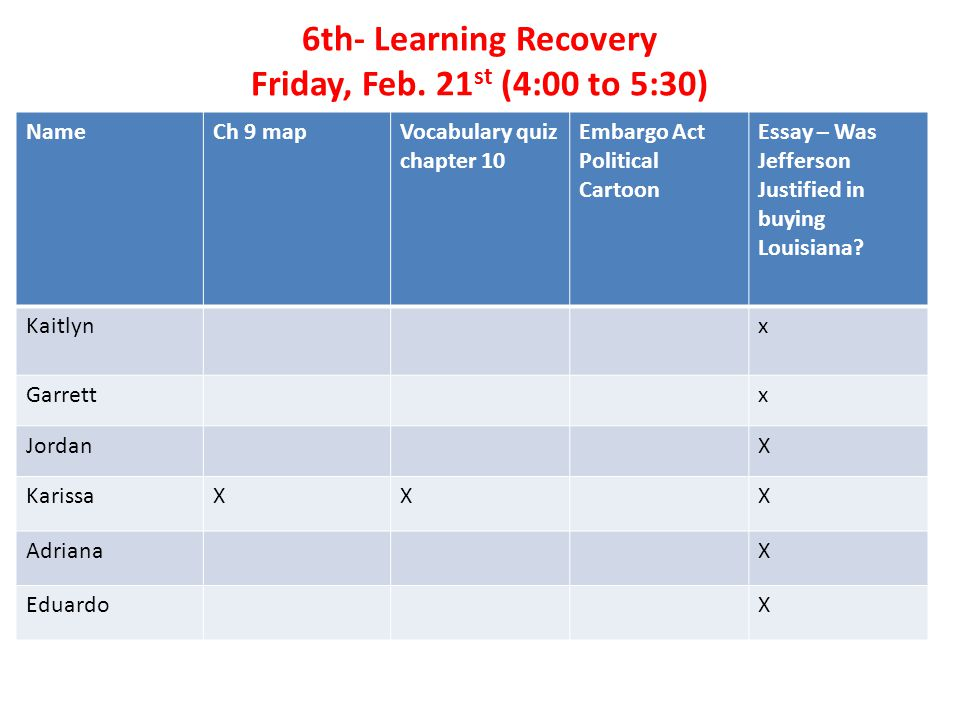 7 th - Learning Recovery Friday, Feb.