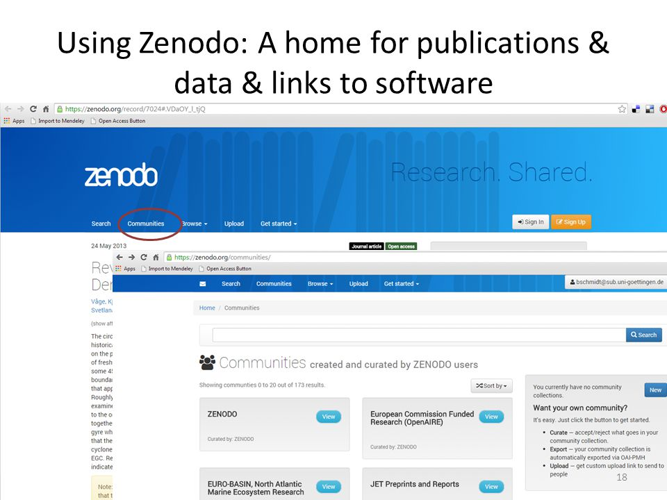 Using Zenodo: A home for publications & data & links to software 18