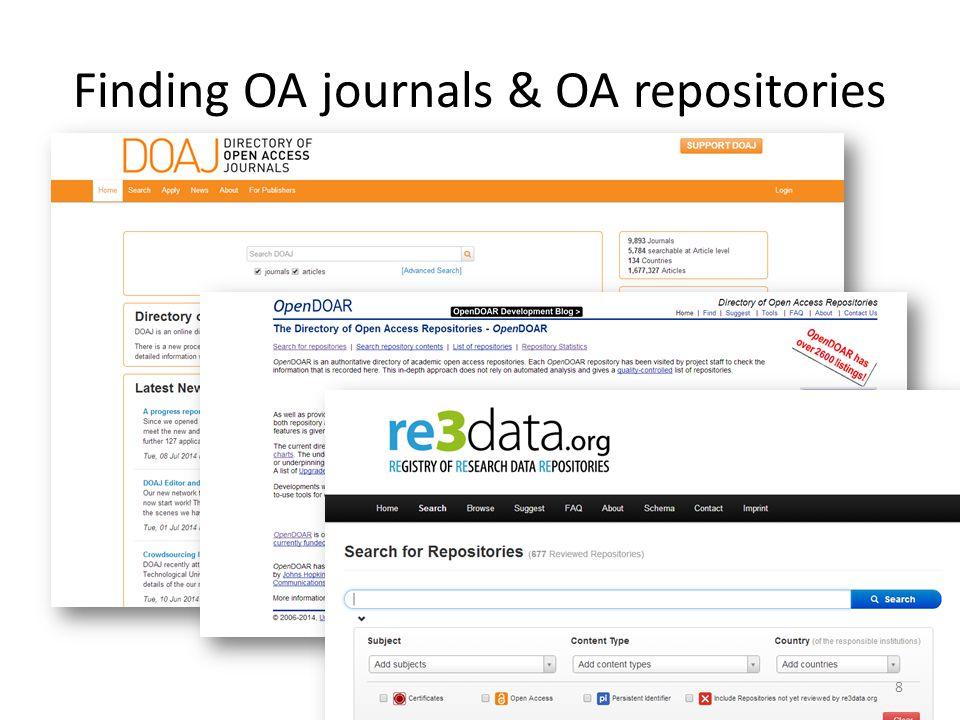 Finding OA journals & OA repositories 8