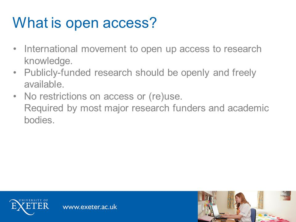 What is open access. International movement to open up access to research knowledge.