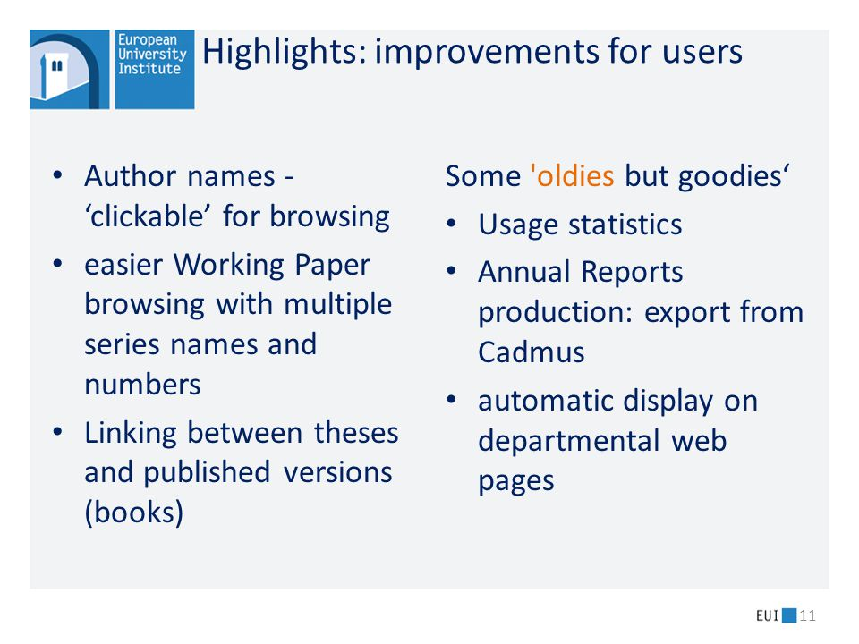 Highlights: improvements for users Author names - 'clickable' for browsing easier Working Paper browsing with multiple series names and numbers Linkin