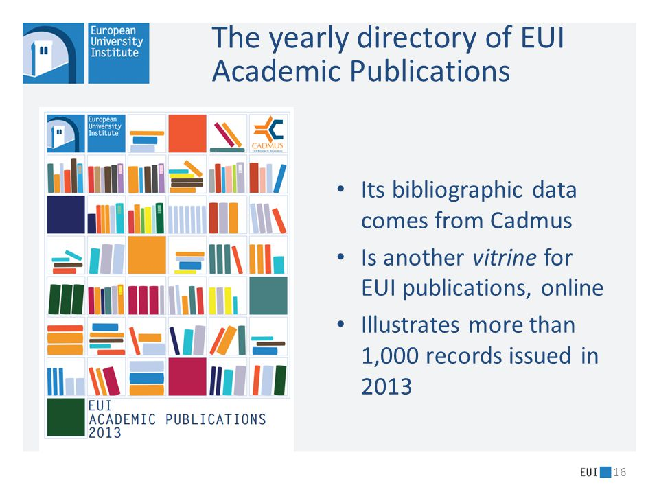 The yearly directory of EUI Academic Publications Its bibliographic data comes from Cadmus Is another vitrine for EUI publications, online Illustrates more than 1,000 records issued in 2013 16