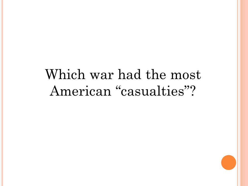 Which war had the most American casualties