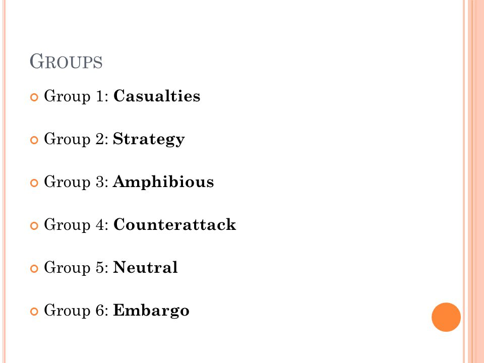 G ROUPS Group 1: Casualties Group 2: Strategy Group 3: Amphibious Group 4: Counterattack Group 5: Neutral Group 6: Embargo