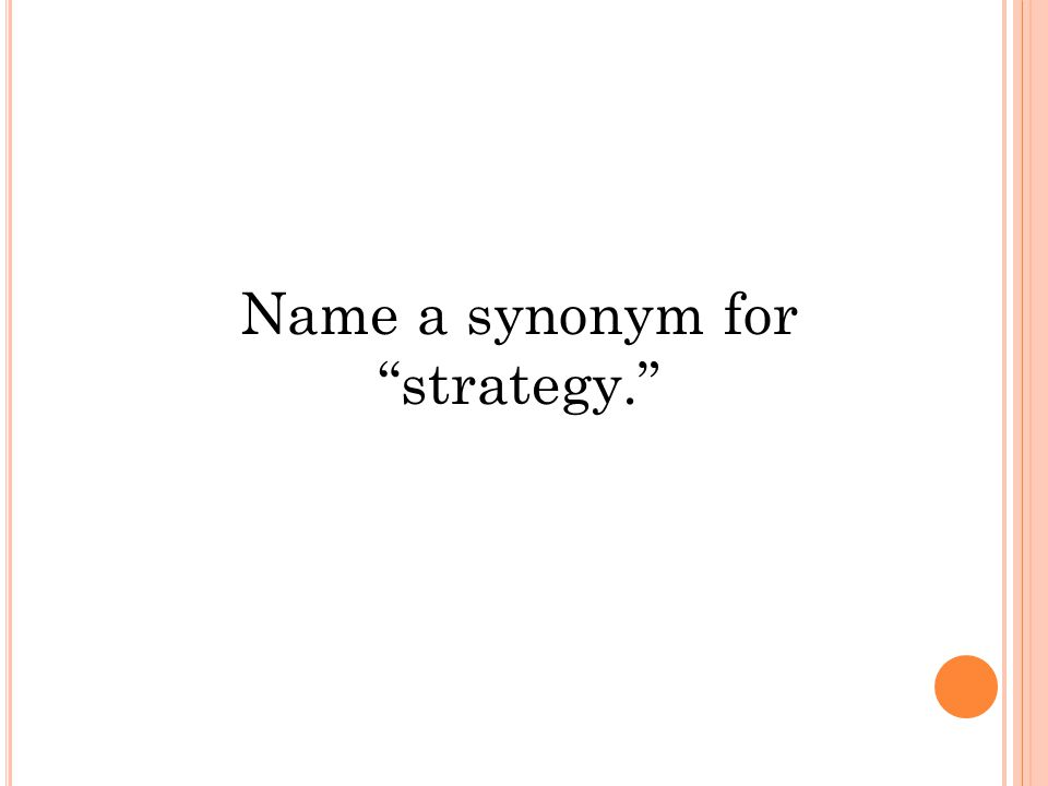 Name a synonym for strategy.