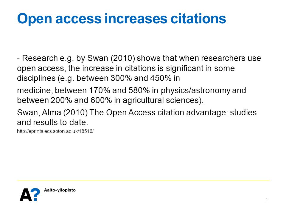 Open access increases citations - Research e.g.