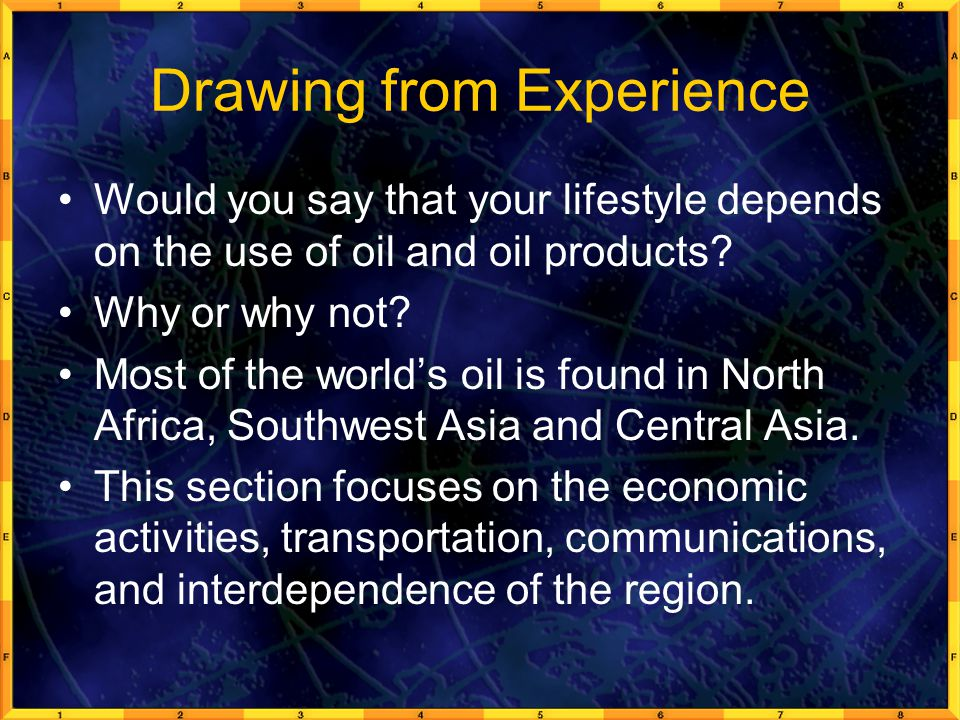 Drawing from Experience Would you say that your lifestyle depends on the use of oil and oil products.