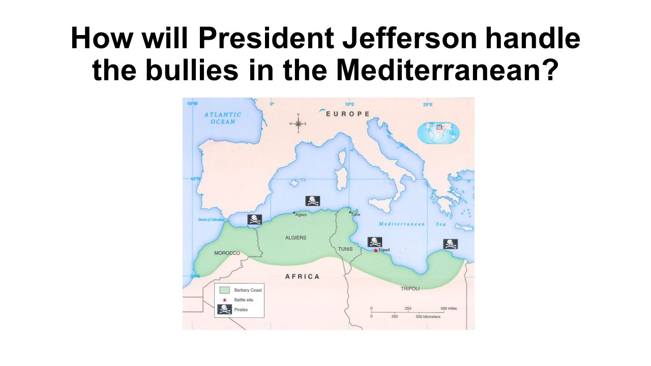 How will President Jefferson handle the bullies in the Mediterranean?