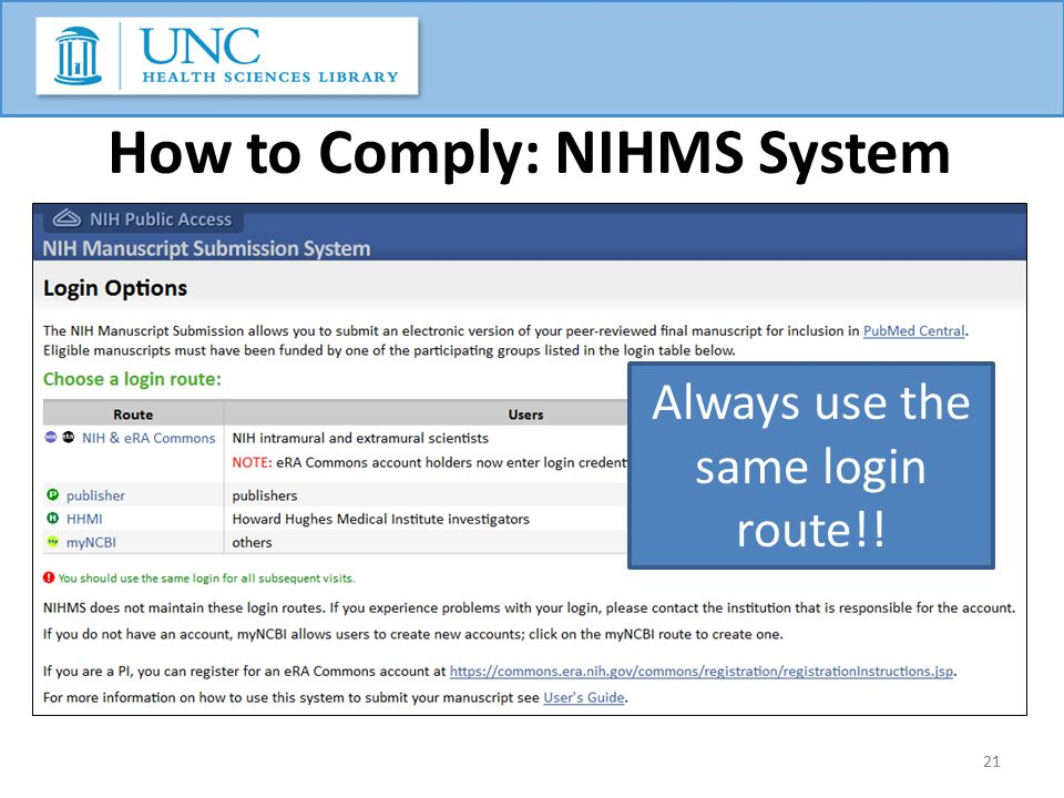 21 How to Comply: NIHMS System 21 Always use the same login route!!