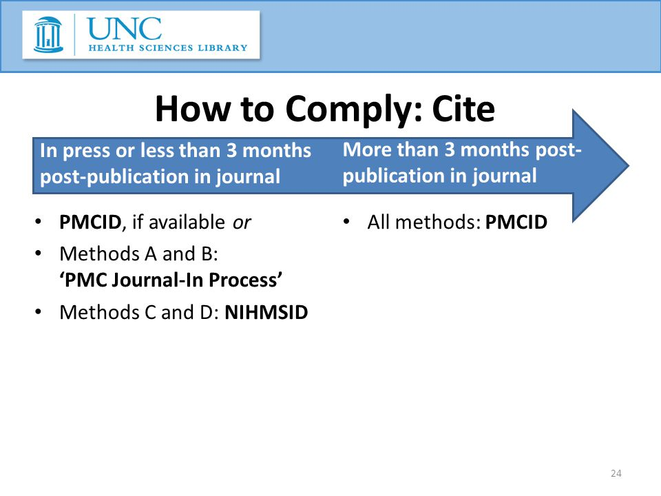 How to Comply: Cite In press or less than 3 months post-publication in journal PMCID, if available or Methods A and B: 'PMC Journal-In Process' Method