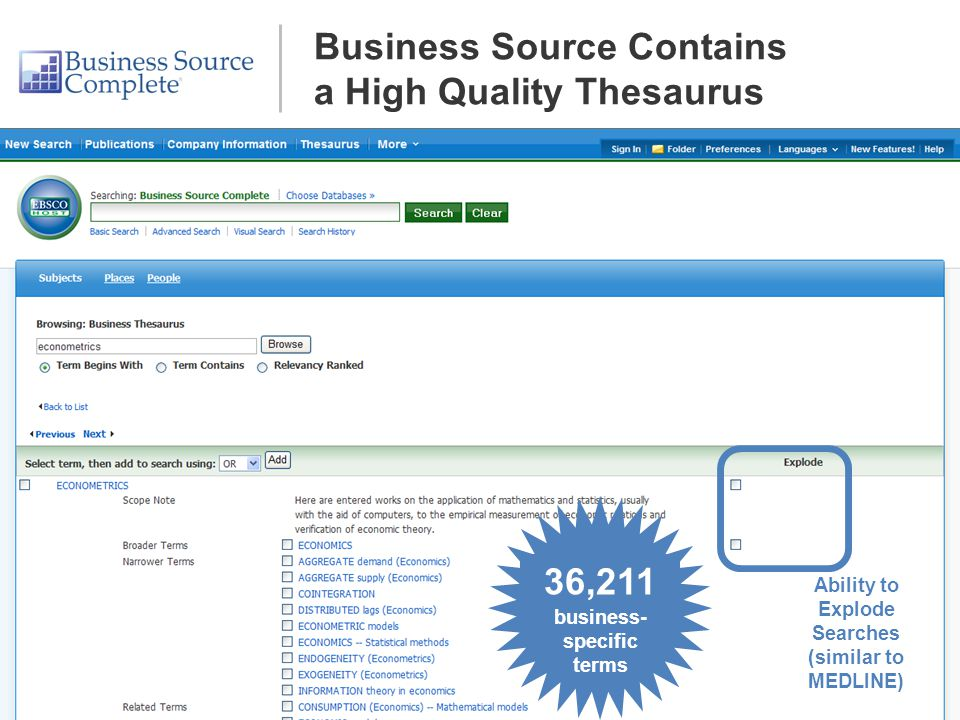 36,211 business- specific terms Ability to Explode Searches (similar to MEDLINE) Business Source Contains a High Quality Thesaurus