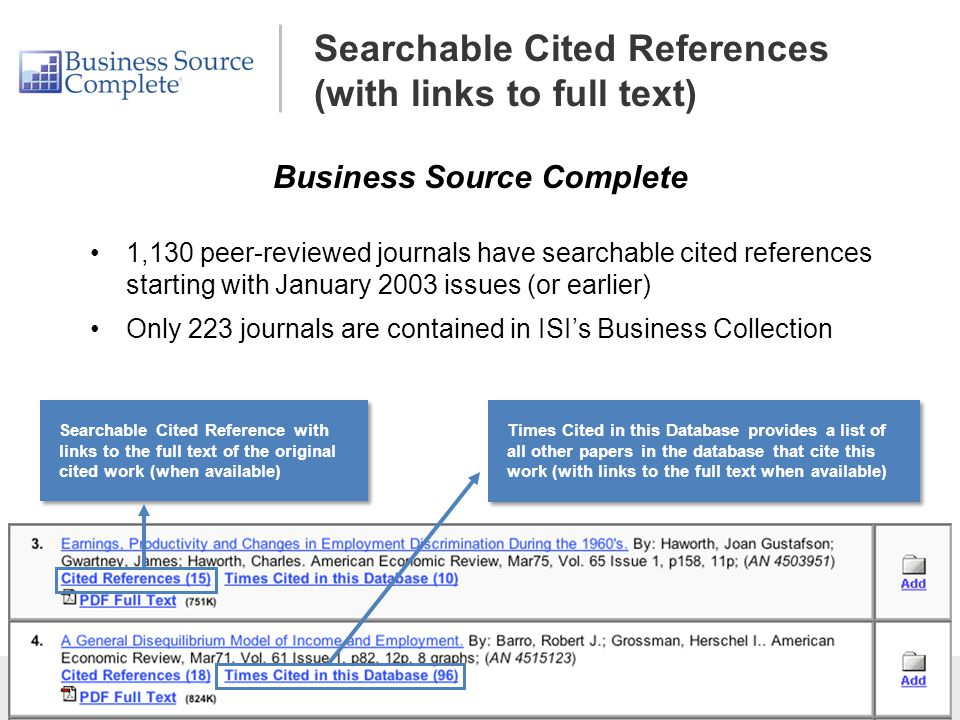 Searchable Cited References (with links to full text) 1,130 peer-reviewed journals have searchable cited references starting with January 2003 issues (or earlier) Only 223 journals are contained in ISI's Business Collection Business Source Complete Searchable Cited Reference with links to the full text of the original cited work (when available) Times Cited in this Database provides a list of all other papers in the database that cite this work (with links to the full text when available)