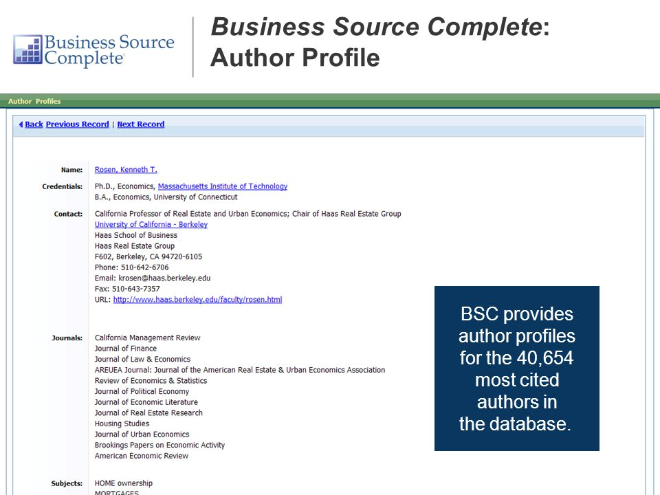 BSC provides author profiles for the 40,654 most cited authors in the database.